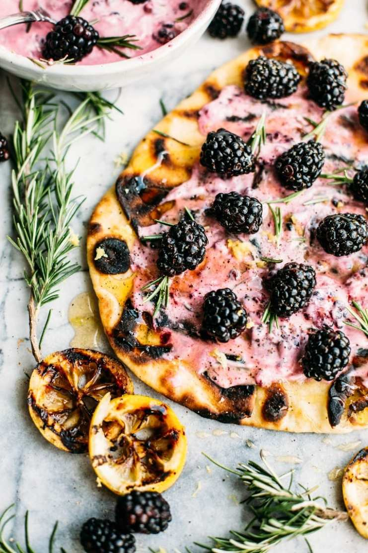 What to Eat Now: Blackberries ~ grilled naan bread with blackberry goat cheese