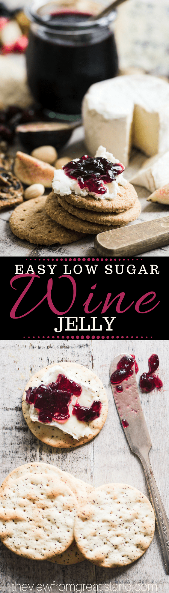 This Easy Low Sugar Wine Jelly Recipe enhances everything from cheese plates to turkey sandwiches.  #jam #preserves #wine #bestpartyappetizer #bestwinejelly #cocktailparty #entertaining #holidayappetizer #foodgift #hostessgift #redwine