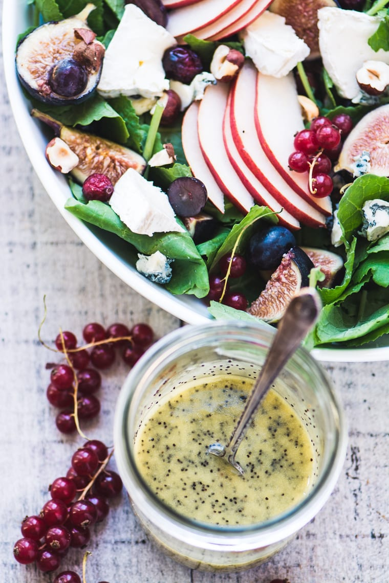 Kale and Fall Fruit Salad with Cider Poppy Seed Dressing and fresh currants