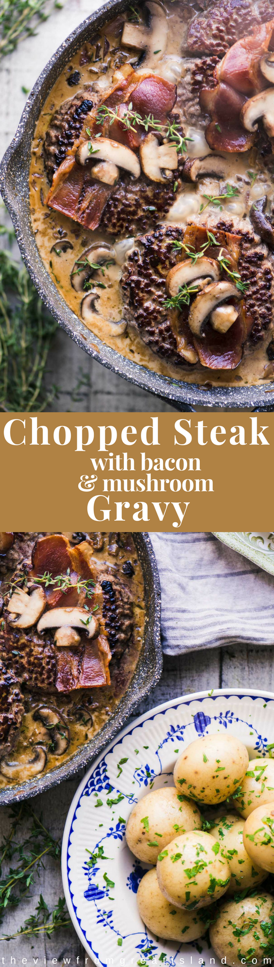 Chopped Steak with Bacon and Mushroom Gravy ~ a cozy and comforting supper with a Scandinavian vibe perfect for hunkering down on a chilly night. #groundbeef #beef #hamburgers #dinner #Danish #hygge #onepanmeal #gravy #choppedsteak #bacon #Scandinavian #mormor #comfortfood #falldinner #winterdinner #glutenfree #paleo #whole30