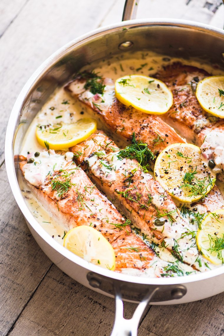 creamy lemon dill salmon in a skillet