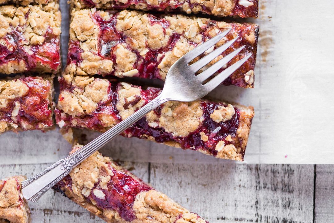 Sour Cherry Almond Bars with fork