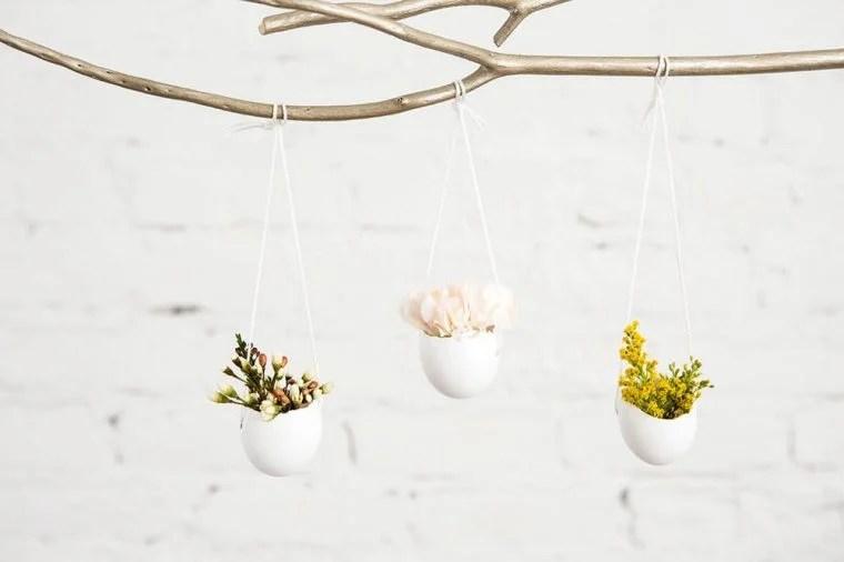 hanging flower vases made from eggshells