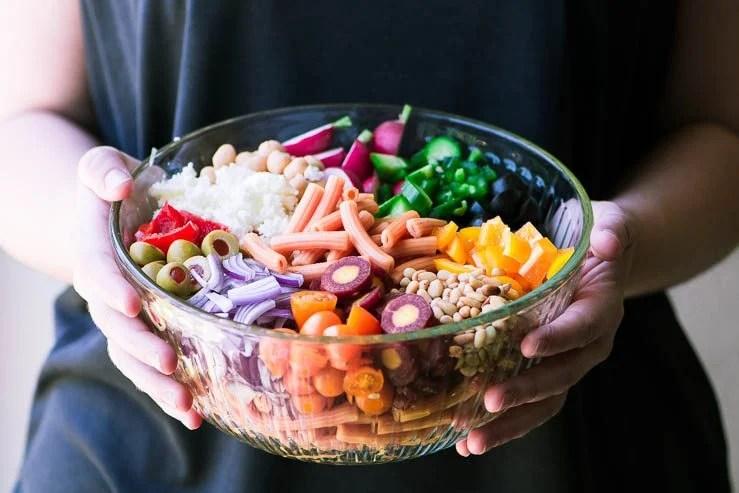 a bowl of gluten free pasta salad