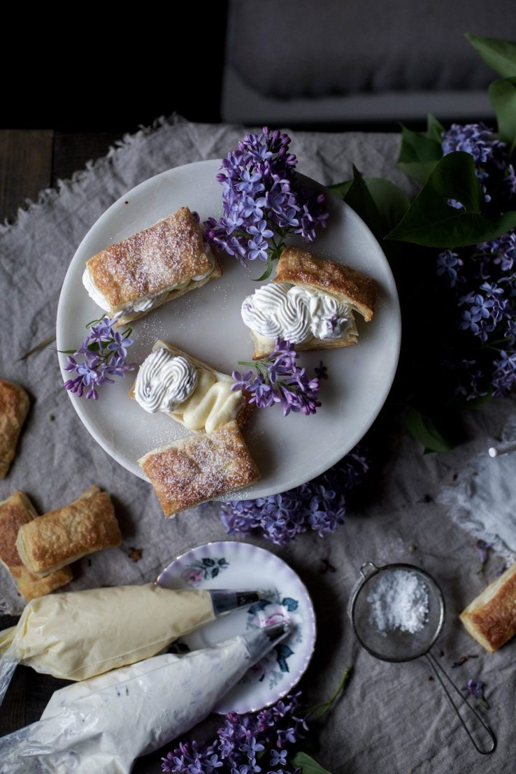 Puff pastry with lilac infused whipped cream