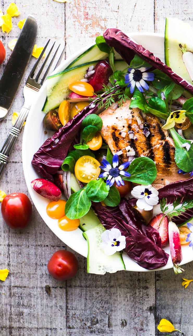 spring salmon salad on a wooden board