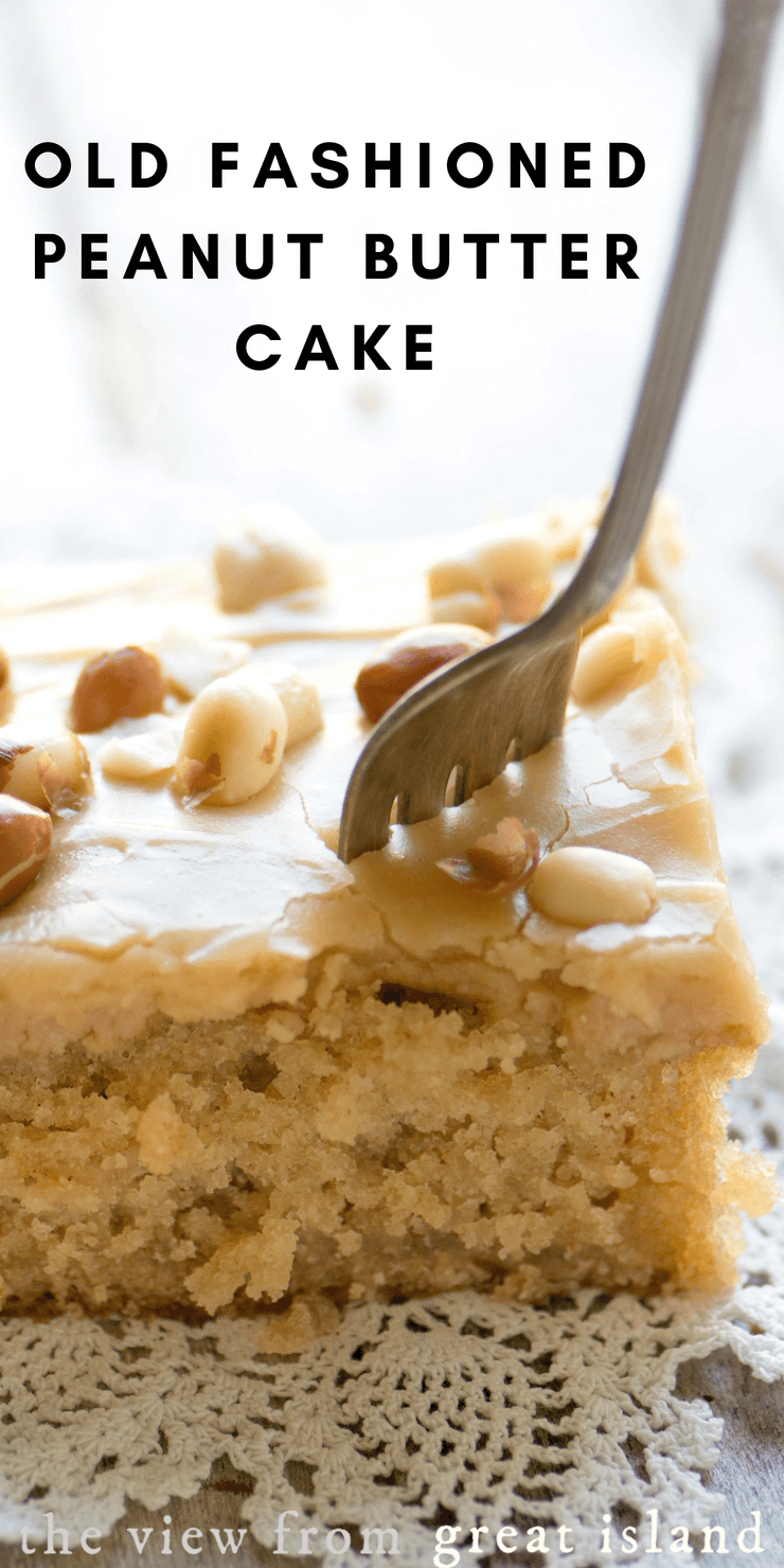Old Fashioned Peanut Butter Cake is a good old Southern potluck staple that's reached cult status. #snackcake #cake #homemade #peanutbutter #potluck #sheetcake #Southerndessert #dessert #easy #recipe #homemade #fromscratch #frosting #peanutbutterfrosting #best #oldfashioned