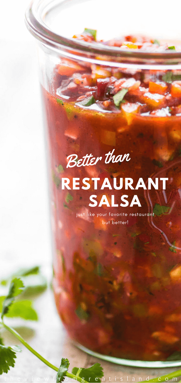 My Better Than Restaurant Salsa combines the best of 2 worlds ~ it's got that deep rich roasted tomato flavor and thick body that you love from your favorite Mexican hangout, along with the bright vibrant crunch of hand chopped veggies. #salsa #blendersalsa #Mexican #chipsanddip #appetizer #healthy #chipsandsalsa #memorialday #cincodemayo #bestsalsa #easysalsa #restaurantsalsa #copycat