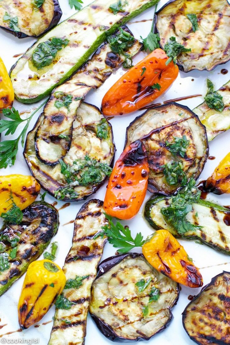 grilled eggplant, zucchini, and peppers salad