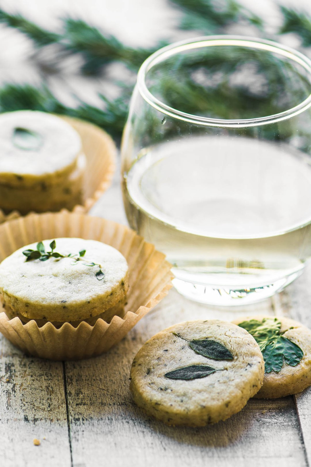 Rosemary Parmesan Savory Shortbread with white wine