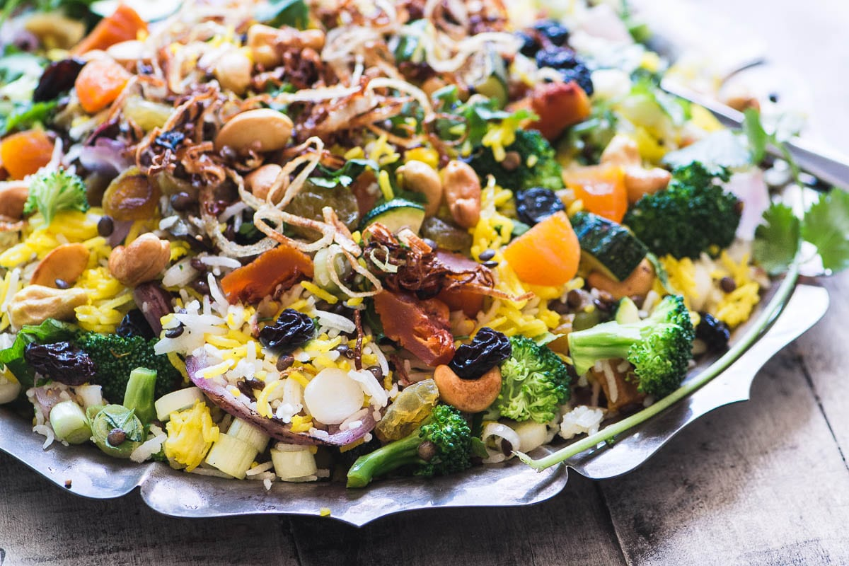 Peach and Cashew Biryani Salad