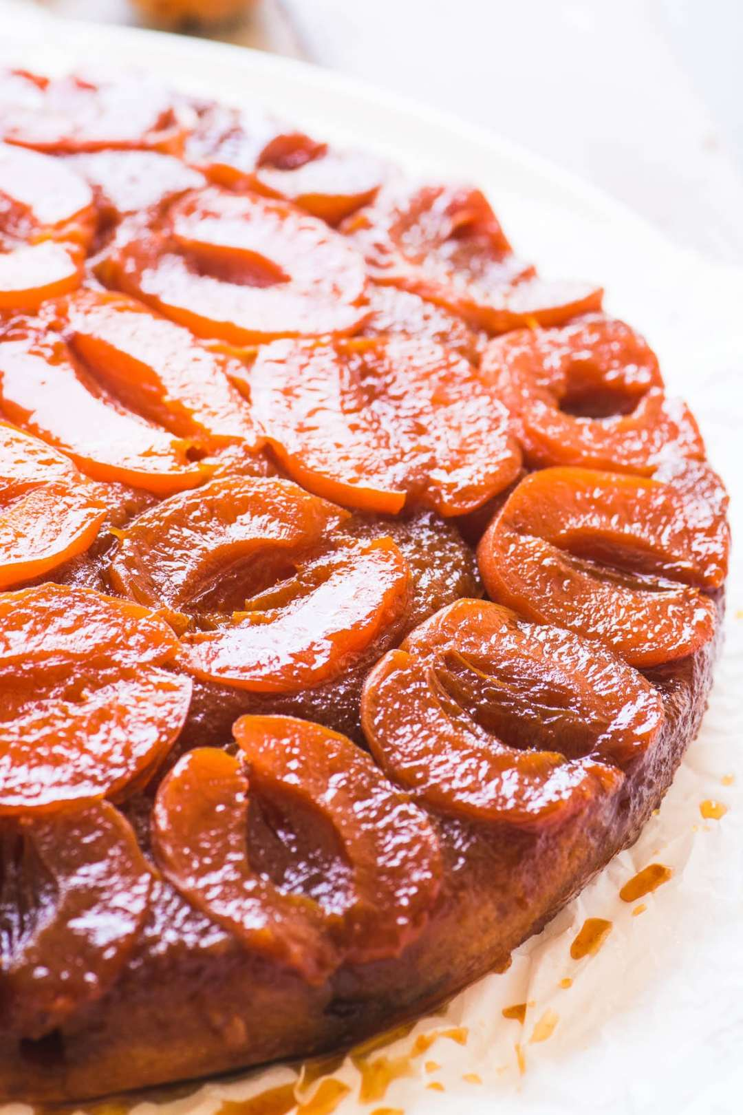 An caramelized apricot upside down cake