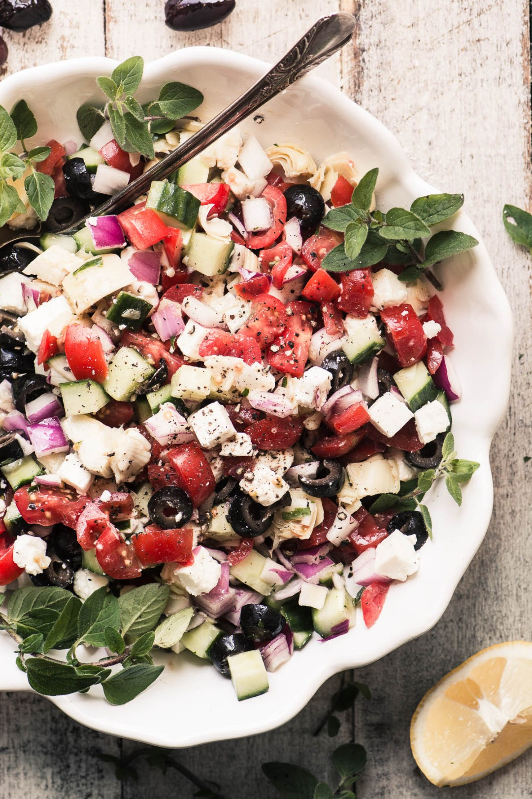 Chopped Greek Salad in a white bowl