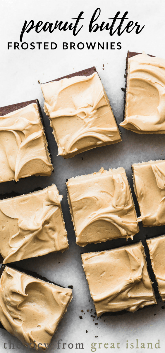 Peanut Butter Frosted Brownies ~ these chewy chocolate brownies are topped with a veritable avalanche of creamy peanut butter frosting. #dessert #brownies #easy #homemade #chocolate #snackcake #cake #bars #peanutbutter #recipe #chewy #best #fudgey #fromscratch