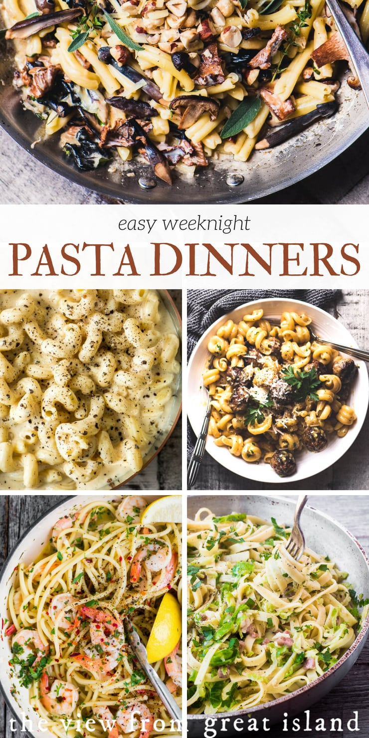 5 Easy Weeknight Pasta Dinners ~ my favorite pastas that are perfect for fall weeknight cooking. They're all siimple, seasonal, and quick 30 minute meals. #recipe #easy #dinner #spaghetti #macaroniandcheese #quick #healthy #30minutemeals #italian
