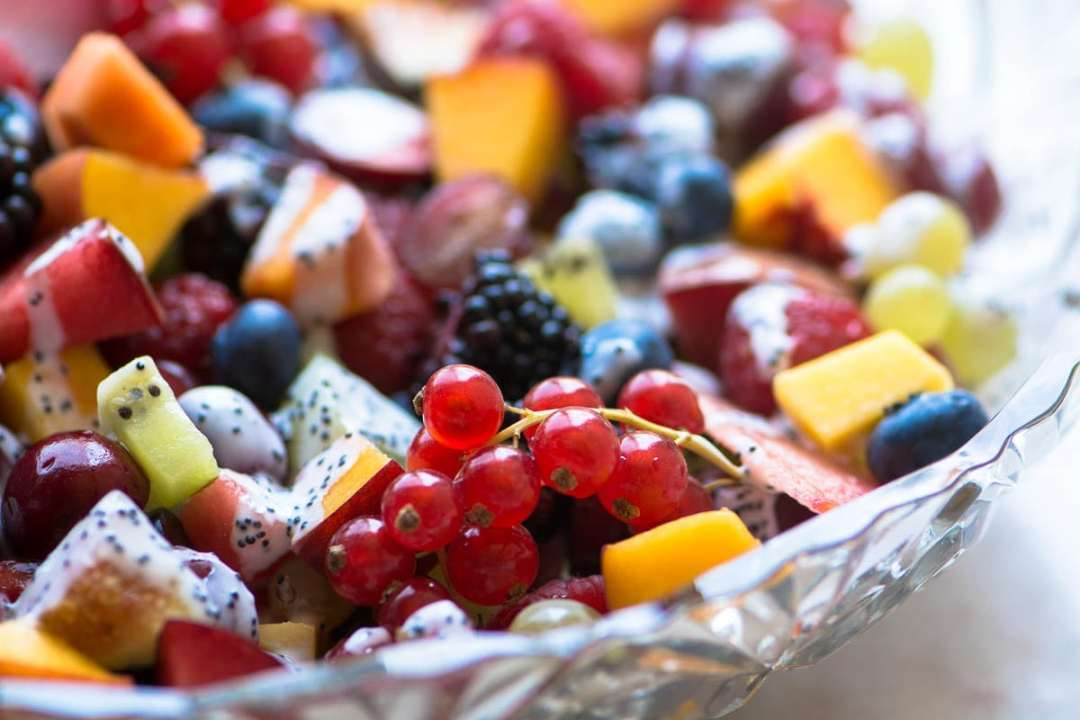 a bowl of fresh fruit for a late summer fruit salad