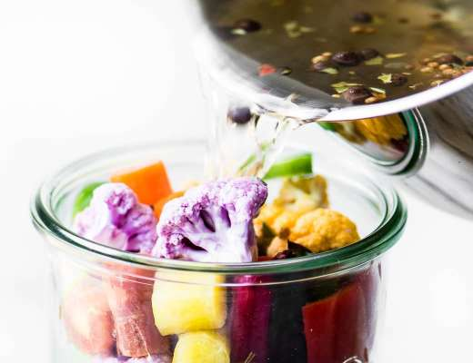 making quick rainbow giardiniera vegetable pickle