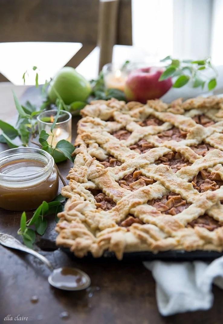 slab apple pie with caramel sauce