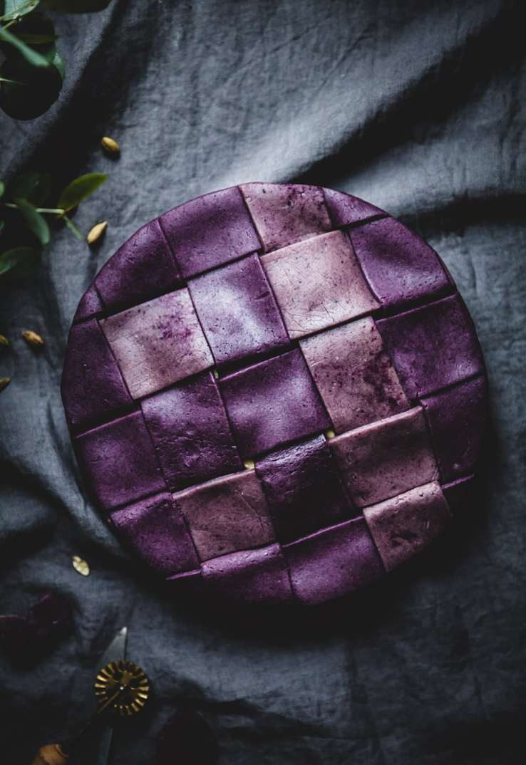 Apple Pie with a purple blueberry crust