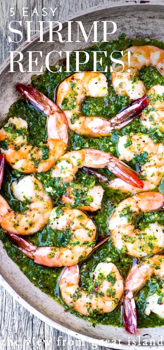 5 Easy Shrimp Recipes ~ shrimp is the original fast food, it can be on your table in a flash. Use fresh or frozen shrimp for any of these easy recipes. #recipes #easy #30minutemeal #fish #shellfish #dinner #soup #shrimp #appetizer #dinner #roundup #bisque #healthy