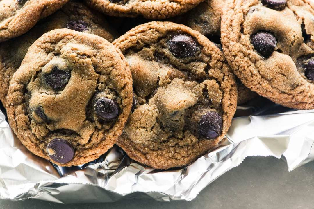 Chewy Chocolate Chip Ginger Cookies in foil