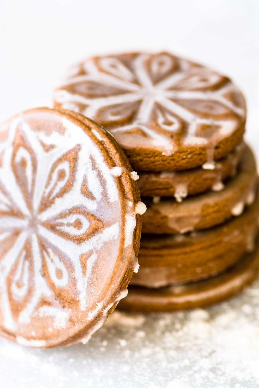 a stack of soft glazed gingerbread cookies