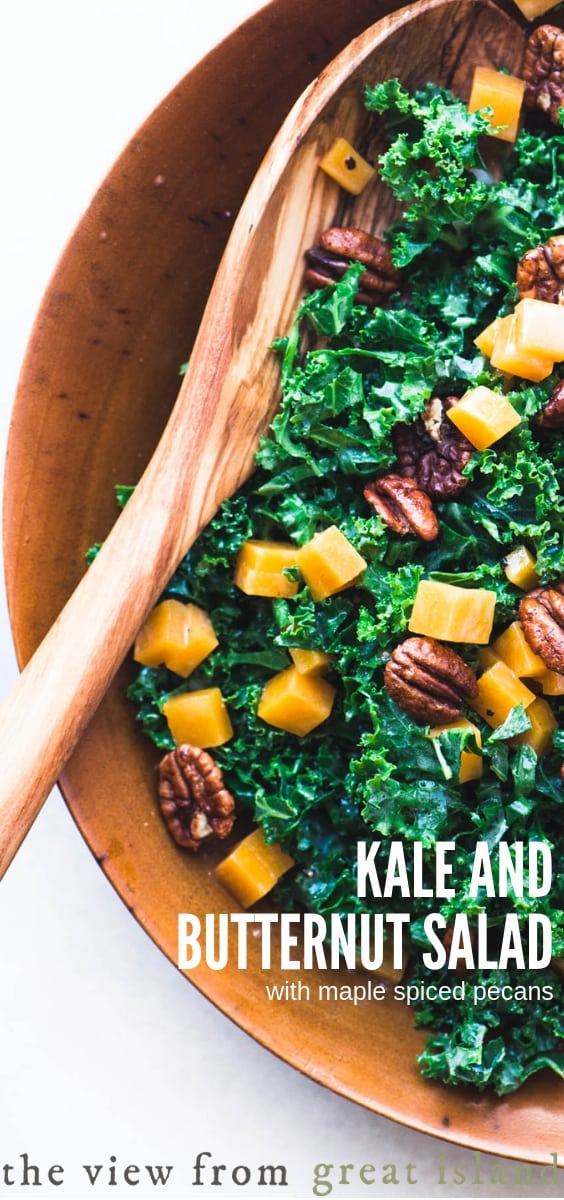 Kale and Butternut Salad with Maple Spiced Pecans ~ this simple vegan salad is full of superfood nutrients and fall flavors. #salad #superfood #kale #fall #sidedish #Thanksgivingside #healthy #recipe #easy #wintersquash #spicednuts #candiednuts #pecans