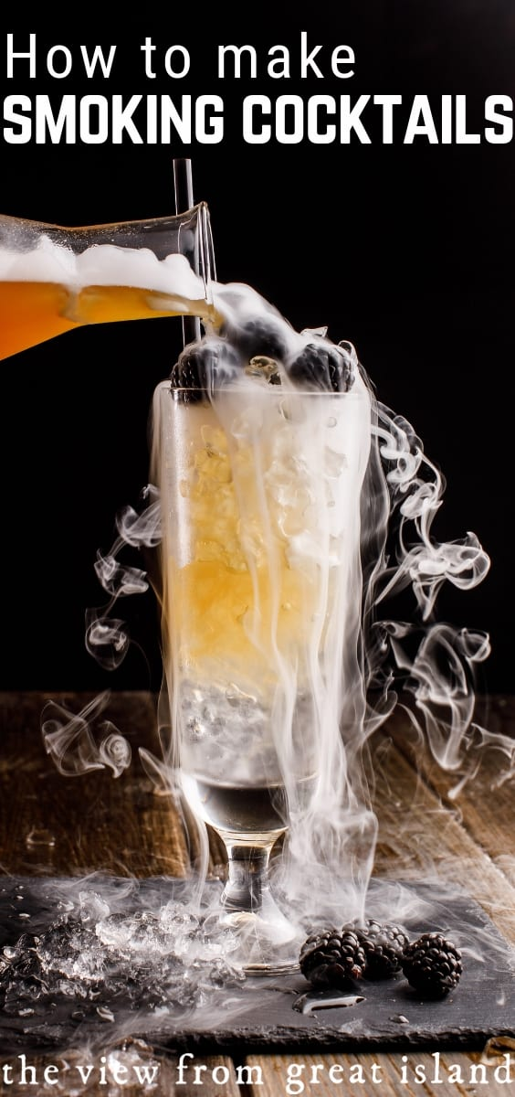 Smokey Halloween Cocktails are the gold standard of Halloween, adult style, and did you know that this effect is easy to do for yourself? #cocktails #dryice #infusing #smokedcocktails #halloween #bartending #easy #recipe #fallcocktails #smoking