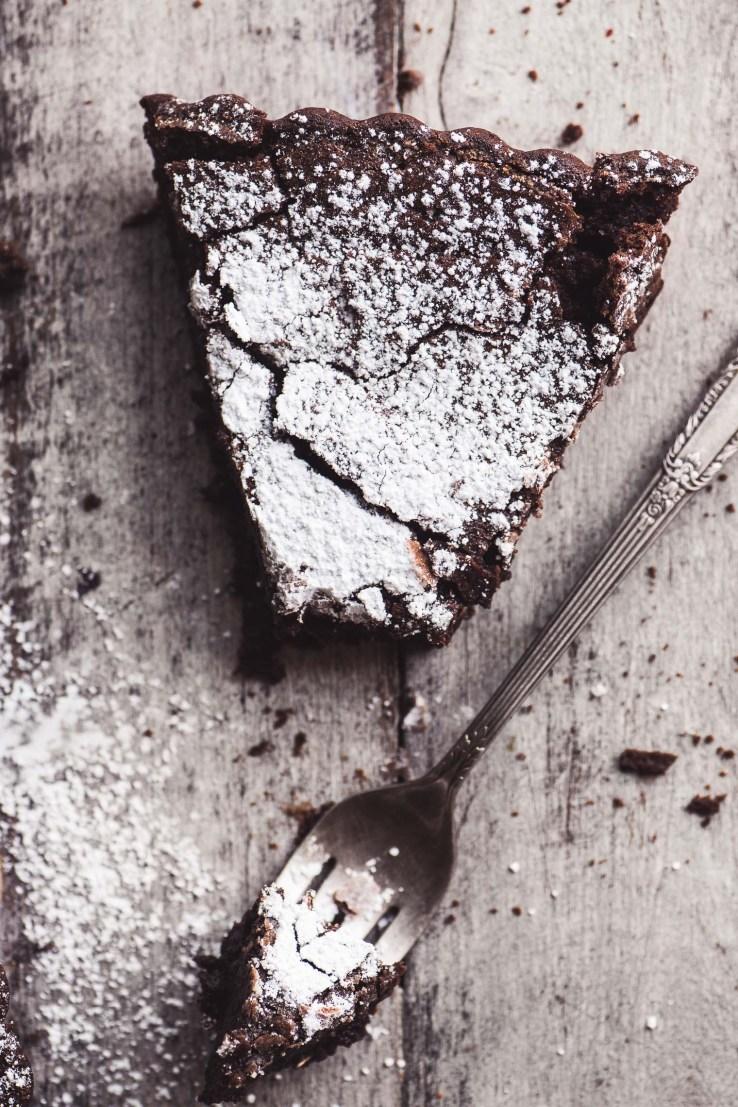 Flourless Belgian Chocolate Cake with fork