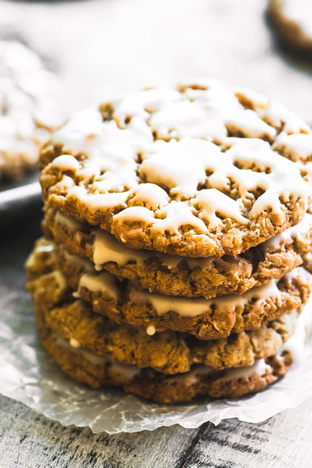 A stack of maple glazed oatmeal cookies