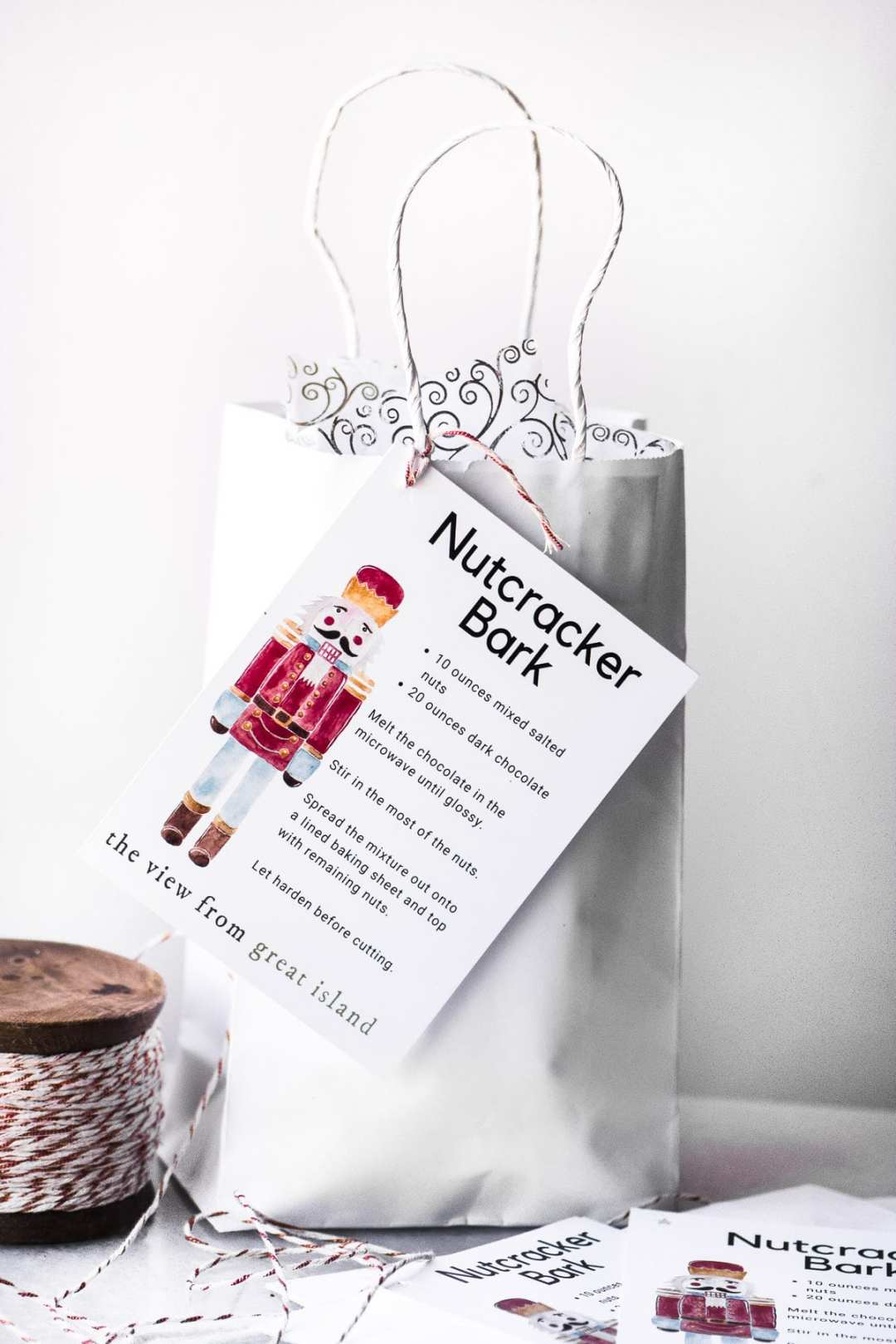 Nutcracker Bark gift bag with recipe tag