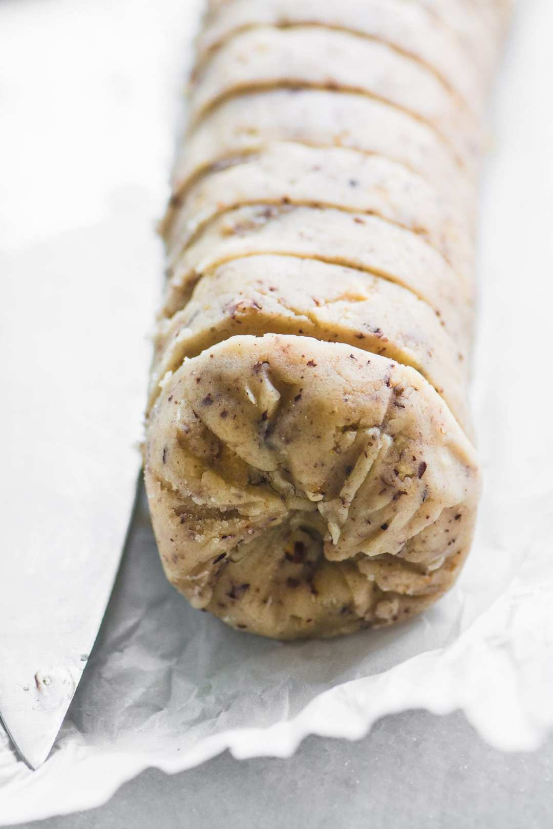 A roll of Hazelnut Sandies dough