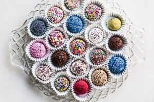Jewel Box Truffles on a glass tray