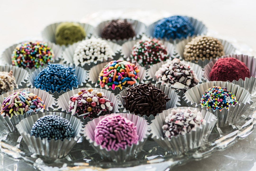 Jewel Box Truffles on a glass plate
