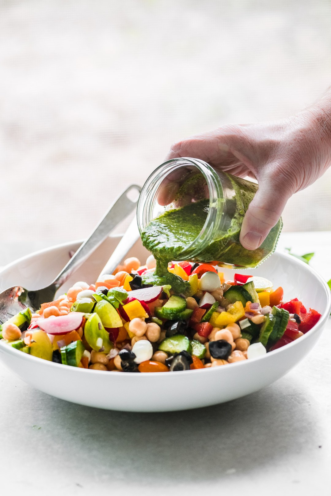 Dressing a Chickpea Salad with pesto