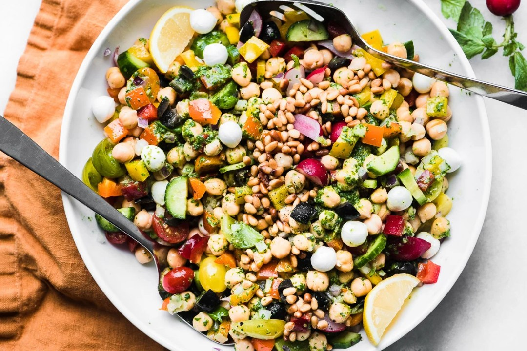 Chickpea Salad with Pesto in a large white bowl 2