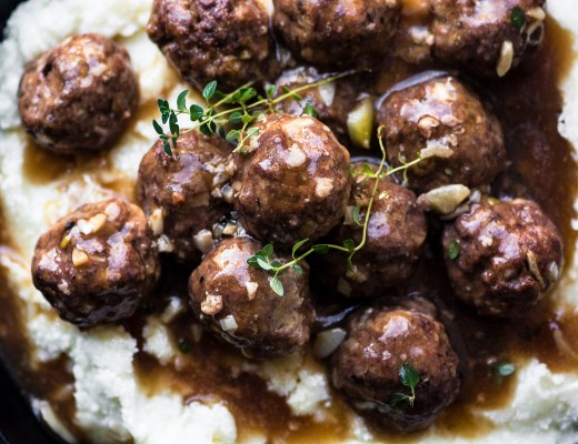 Salisbury steak meatballs with garlic gravy