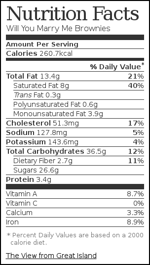 Nutrition label for Will You Marry Me Brownies