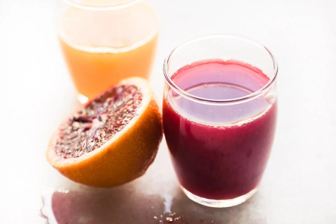 Blood orange and tangerine spremuta (Italian orange juice)