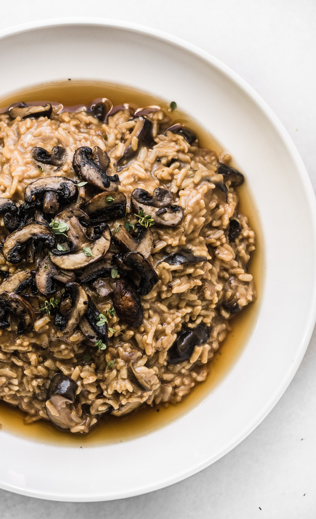 Instant Pot Wild Rice Risotto in a white bowl