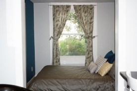 View of bedroom, with curtains from World Market that I LOVE