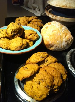 All in a day's baking: choc-chip pumpkin cookies and ciabatta