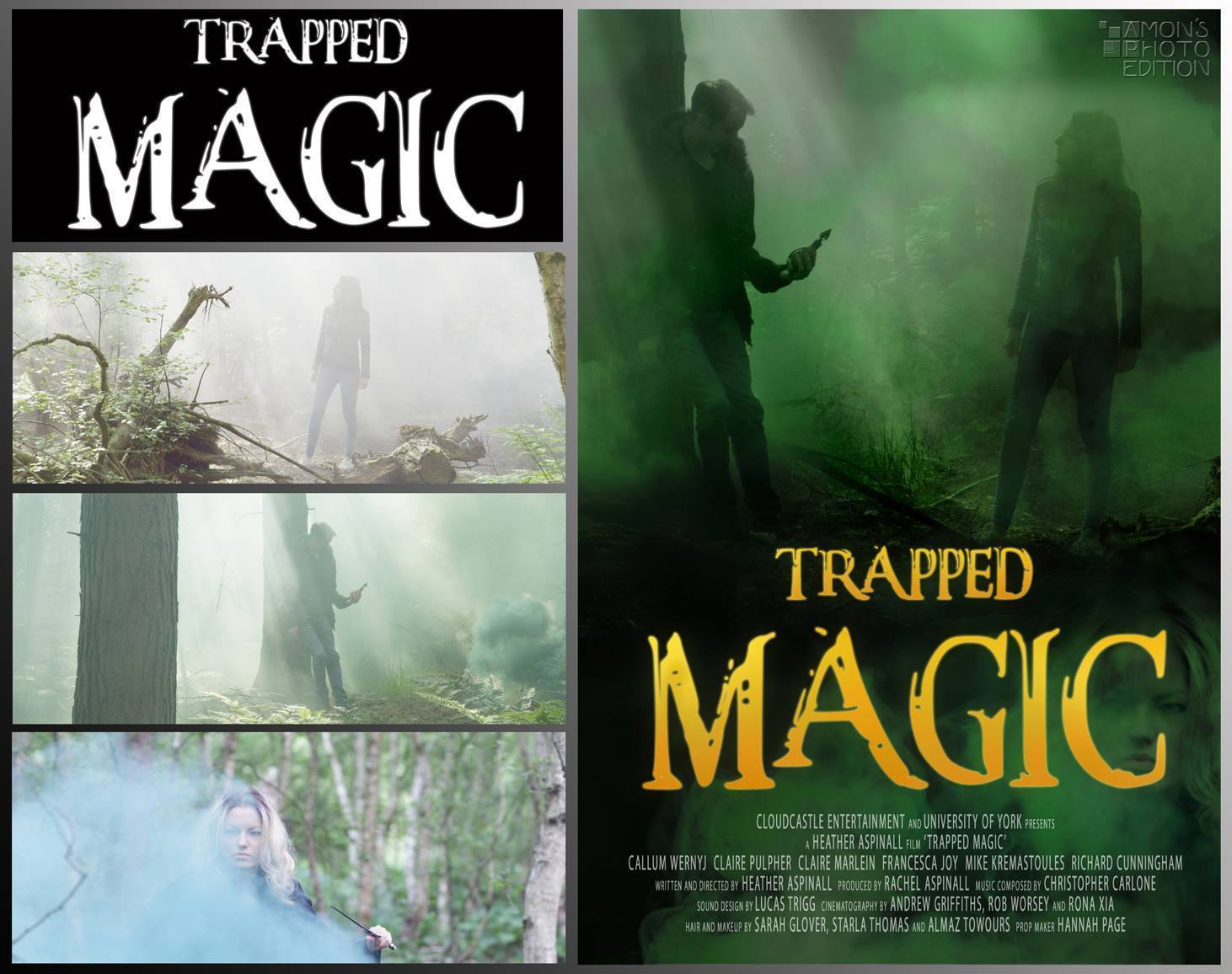 Artwork and poster for short film 'Trapped Magic'. Graphic design by Amon Silvio Kivineva