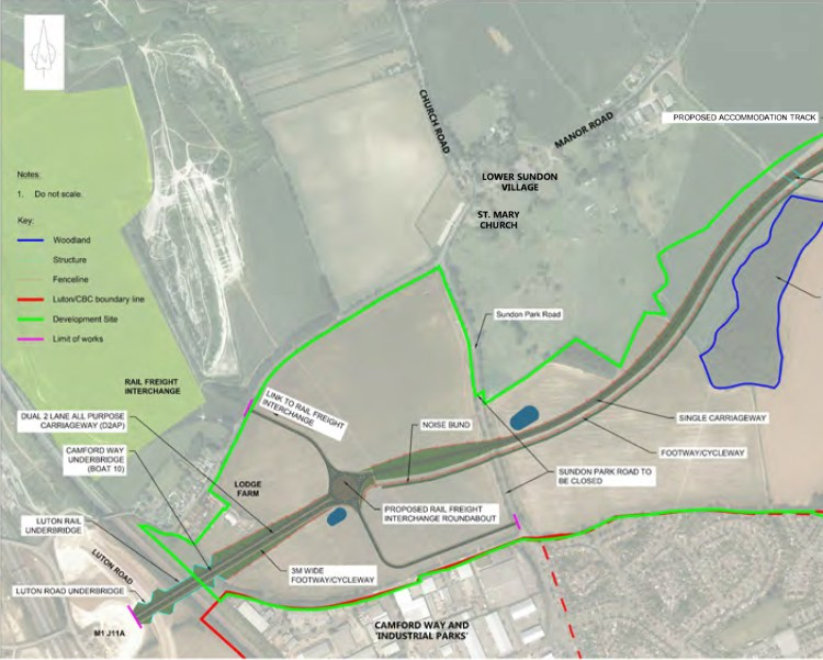 Central Bedfordshire Council To Share Plans For Future M1-A6 Link Road. M1-A6 route map