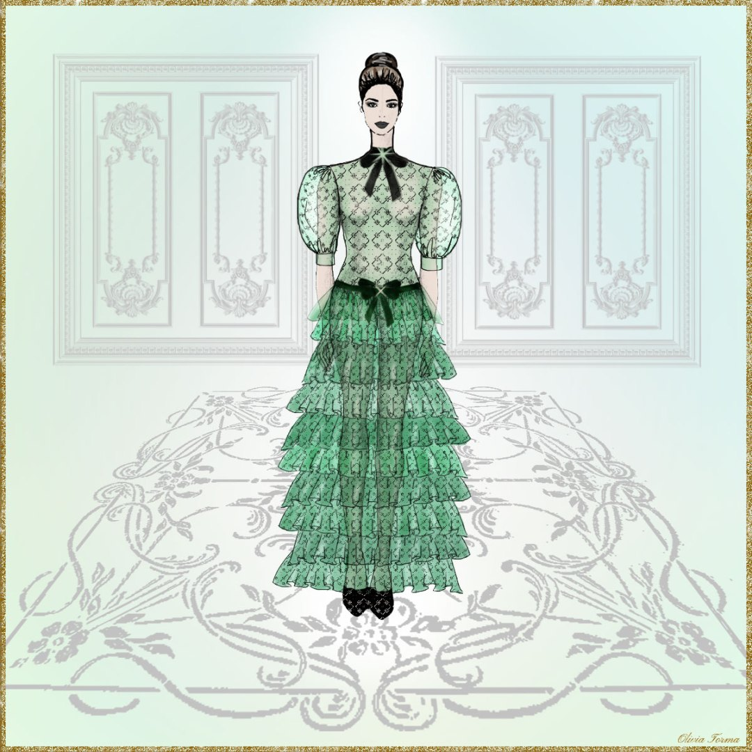 Chantilly Lace Haute Couture Dress Illustration by The Vintage Couturiere