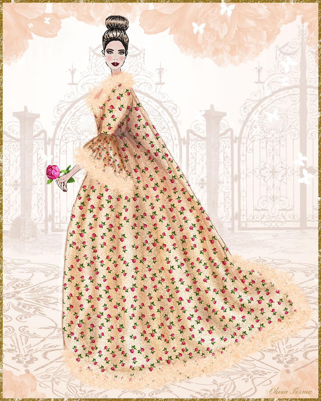 Apricot Peony Robe a la Francaise by The Vintage Couturiere Olivia Torma