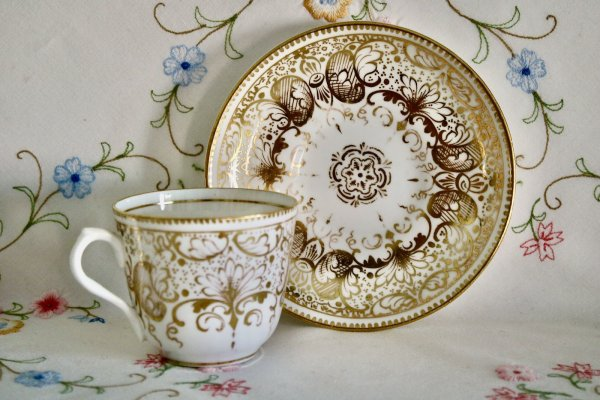 Gold Filigree Cup and Saucer