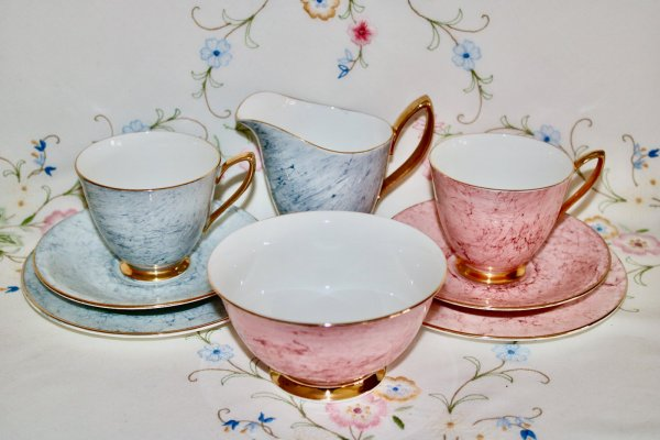 Royal Albert Pink & Grey Tea for Two
