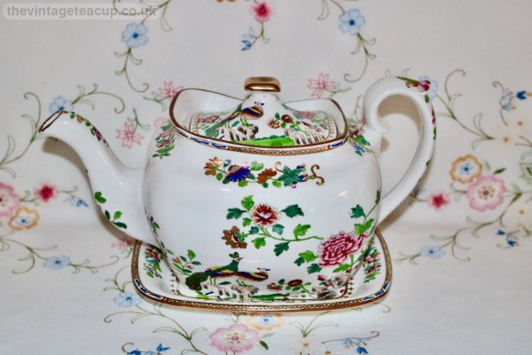 Spode Peacock Teapot and Stand
