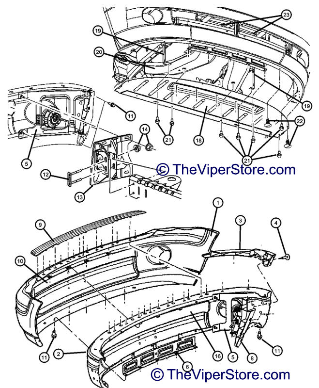 RAM SRT10 2004-2006 Factory Parts Diagrams Front Bumper